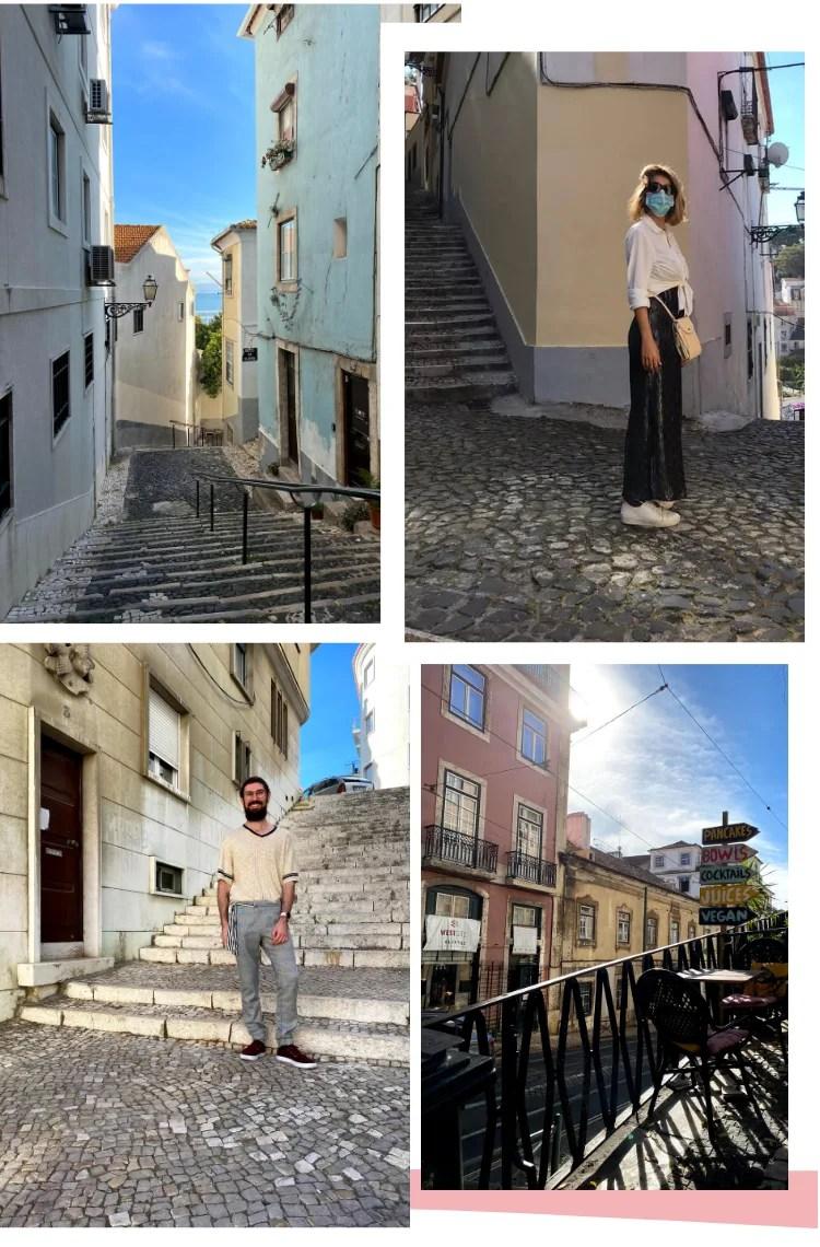 """Montagem vertical com fundo branco e quatro fotos, dispostas em duplas, duas  em cima, duas embaixo. Foto 1 (em cima, à esquerda): Uma escadaria cinza, com prédios antigos aos lados ocupa toda a imagem, sem mostrar o fim. Foto 2 (em cima, à direita): Marcie está parada, de lado, olhando para a câmera. Ao seu lado está uma escada cinza para subir. Foto 3 (embaixo, à direita): Ícaro, um homem branco, com barba e cabelos castanhos está parado em frente a uma escadaria cinza. Foto 4 (uma placa com os dizeres """"Pancakes"""" """"Jiuces"""" """"Bowls"""" está no topo de uma ladeira, seguida de mesas e cadeiras, que são posicionados para ficarem retos na ladeira."""
