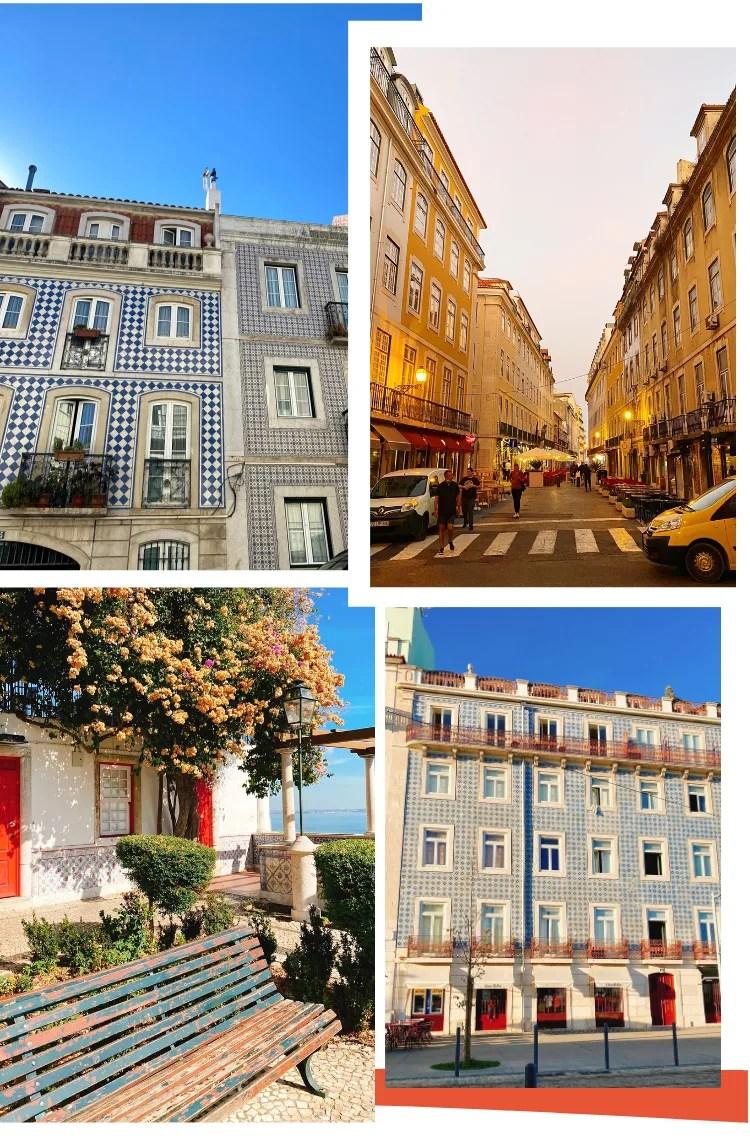 Montagem vertical com fundo branco e quatro fotos dispostas em duplas, duas em cima, duas embaixo. Foto 1(em cima, à esquerda): Um prédio com azulejos azuis fotografado de cima, com o céu azul aparente. Foto 2 (em cima, à direita): uma foto mostra uma rua de Lisboa no final de tarde, com os prédios antigos em tom de amarelo e a rua, com a faixa de pedestres à frente. Foto 3 (embaixo, à esquerda): uma fachada com chão de pedras traz um banco de praça de madeira com pintura azul descascada em primeiro plano. Ao fundo, uma árvore com flores amarelas e um prédio branco com portas vermelhas aparecem. Foto 4 (embaixo, à direita): um prédio antigo, com muitas janelas brancas e azulejos azuis.