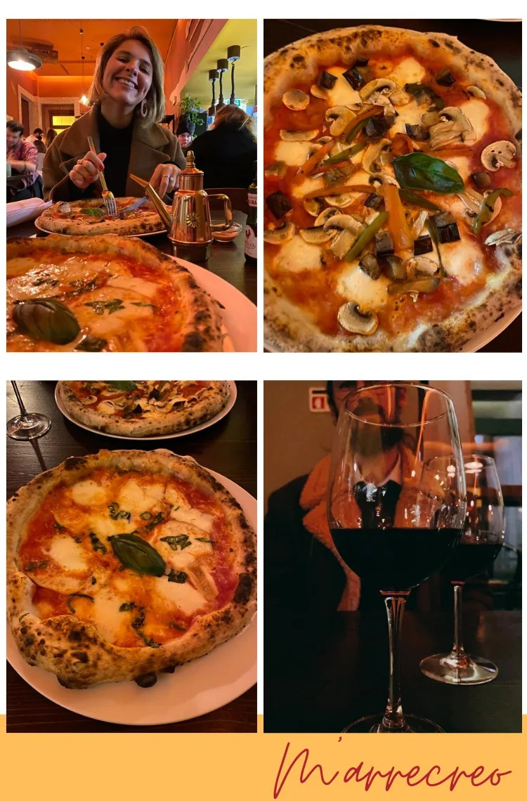 """Montagem vertical com fundo branco e quatro fotos dispostas em duplas, uma em cima, outra embaixo. Foto 1 (em cima, à esquerda): Marcie está em segundo plano, cortando pizza e sorrindo. Na mesa, estão duas pizzas napolitanas. Foto 2 (em cima, à direita): uma pizza napolitana de cogumelo, legumes, mussarela e berinjela está em uma mesa marrom escura. Foto 3 (embaixo, à esquerda): uma pizza de três queijos e manjericão está em um prato branco, em cima de uma mesa marrom escura. Foto 4: duas taças de vinho tinto repousam em cima de uma mesa marrom. Ao fundo, em terceiro plano, está um homem com barba castanha, com a imagem embaçada.Logo abaixo das fotos está o texto """"M'arrecreo"""", escrito em fonte cursiva bordô, por cima de uma linha amarela."""