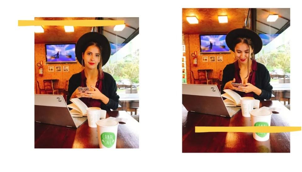 Montagem com fundo branco e duas fotos, com borda amarela. Na duas fotos, Marcie está centralizada na imagem, com chapéu de feltro preto, camisa bordô e cardigã preto. Está sentada em uma mesa, com o celular na mão. A sua frente estão um notebook, um livro e um copo de café. Na primeira foto, olha para a câmera e sorri de lábios fechados. Já na segunda, olha para o celular e sorri.