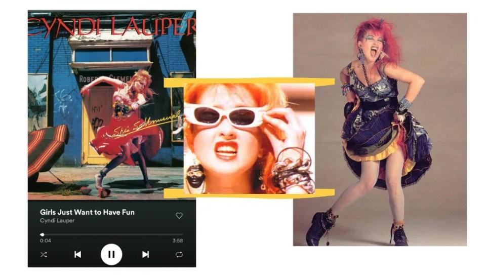 """Montagem com fundo branco e três fotos. Na primeira, o player preto do spotify está com a capa do disco da Cyndi Lauper, na música """"Girls Just Wanna Have Fun"""". Na imagem do meio, que está centralizada, uma foto da cantora Cyndi Lauper de óculos escuros com moldura branca. Na terceira foto, a cantora Cyndi Lauper posa em frente a uma parece cinza com fundo infinito. Cyndi usa um vestido com muitos babados nos tons de amarelo, vermelho e roxo, além de coturnos pretos."""