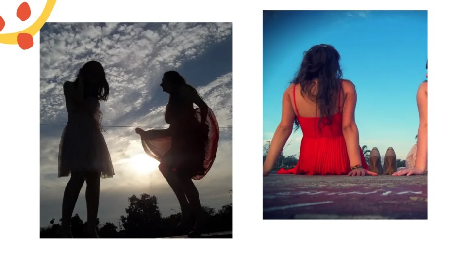 Montagem com duas fotos em um fundo branco. Na primeira foto, a sombra de duas minas dançando com vestidos contra o sol. O céu é azul e nuvens brancas as contornam. Na segunda, uma menina branca, de cabelos longos e vestido vermelho aparece sentada, com sapatos de salto alto ao lado. O céu azul e silhuetas de árvores contornam a imagem.
