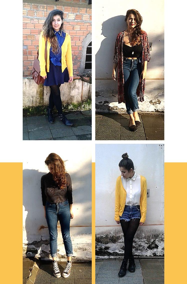 Montagem vertical branca com quatro fotos, dispostas em dupla, uma em cima, outra embaixo. Foto 1 (em cima, à esquerda): Marcie posa em frente a uma casa de tijolos. O look é composto por camisa azul amarrada na cintura, saia azul-marinho, cardigã amarelo, meia-calça preta e coturno preto. Foto 2 (em cima, à direita): Marcie posa em frente a uma parede branca. O look é composto por calça jeans azul com barra dobrada, cropped preto, quimono floral vermelho e slipper preto. Foto 3 (embaixo, à esquerda): Marcie posa em frente a uma parede branca. O look é composto por cropped cinza de gola alta listrado, calça jeans azul com barra dobrada e all star preto de cano alto. Foto 4 (embaixo, à direita): Marcie posa em frente a uma parede branca. O look é composto por camisa branca com gola de corrente dourada usada com todos os botões fechados, cardigã amarelo, short jeans, meia calça preta e coturno preto.