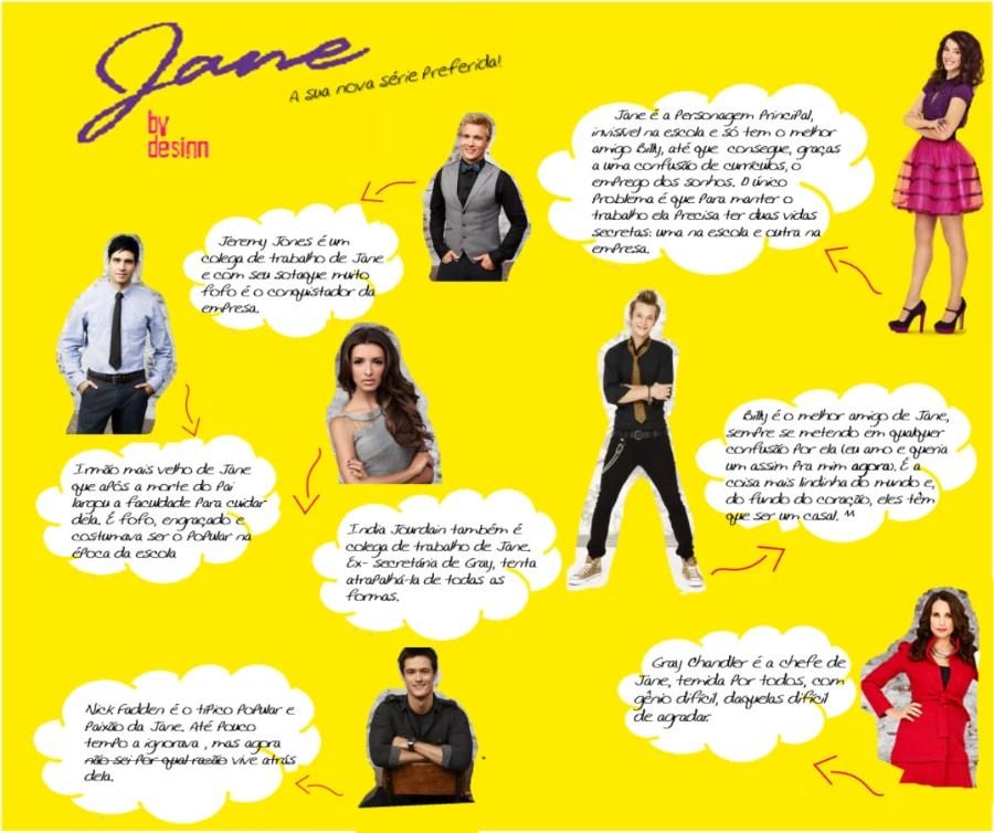 Montagem com fundo amarelo e todos os personagens da serie Jane by design, 7 ao todo. Cada um deles tem um balão branco com texto ilegível ao lado.
