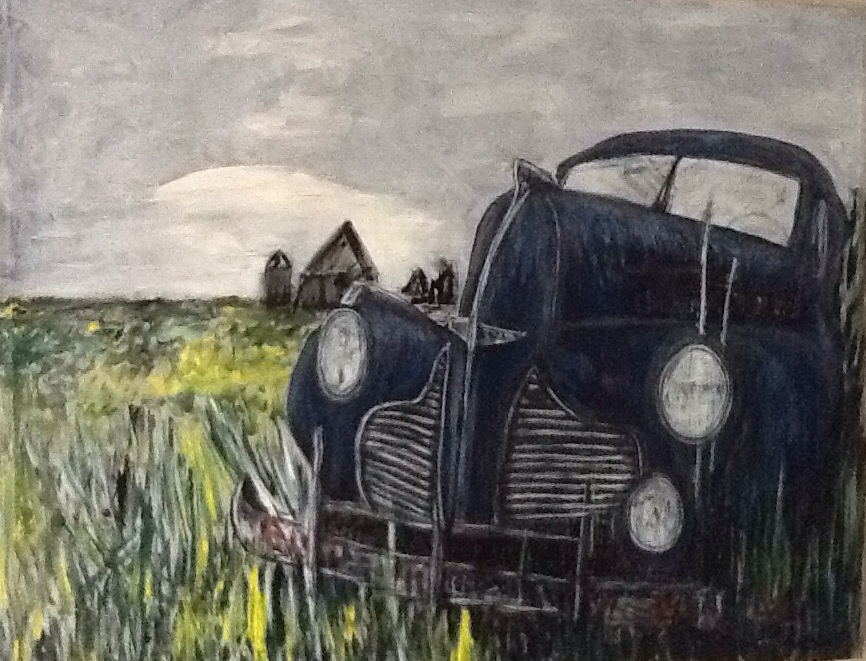 Painting of car in field by Mike Price