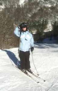 Skier on slope of Wolf Ridge Ski Resort, NC