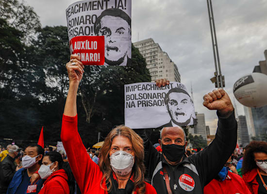 Demonstration against President Bolsonero and his government over the death of Corona 500,000 this week / Photo: Associated Press, Marcelo Chello