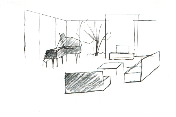 Dessin rough salon piano