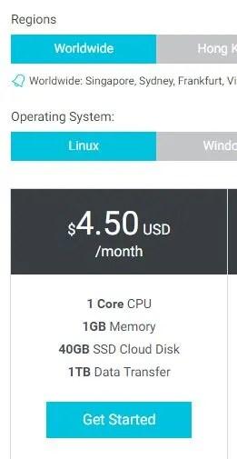 Alibaba Cloud ECS Starter is cheaper