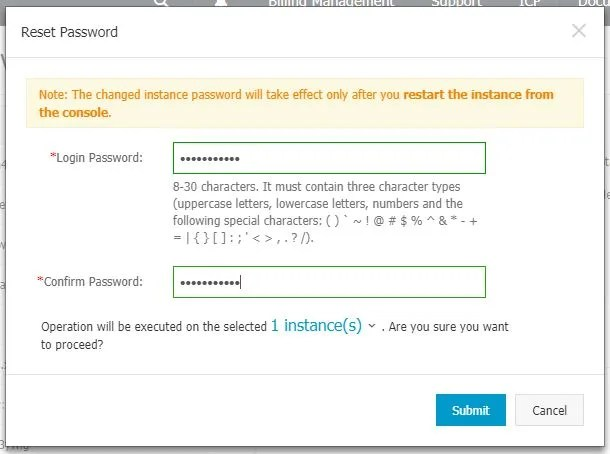 Alicloud ECS Basic Information Reset Password