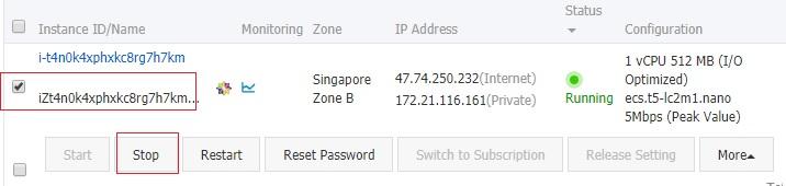 Stop Alibaba Cloud ECS instance