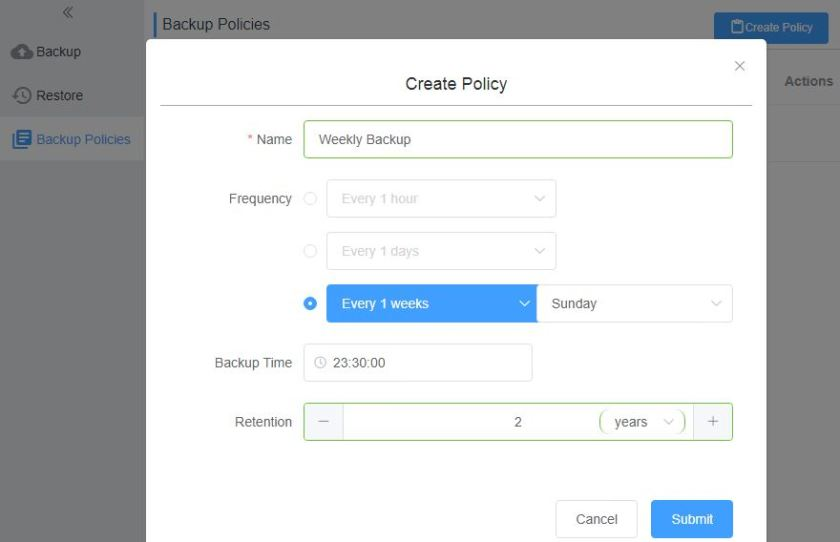 Hybrid Backup Recovery Create Backup Policy