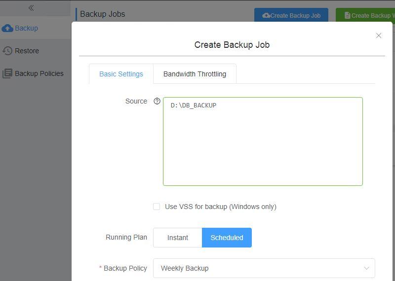 Hybrid Backup Recovery create a backup job