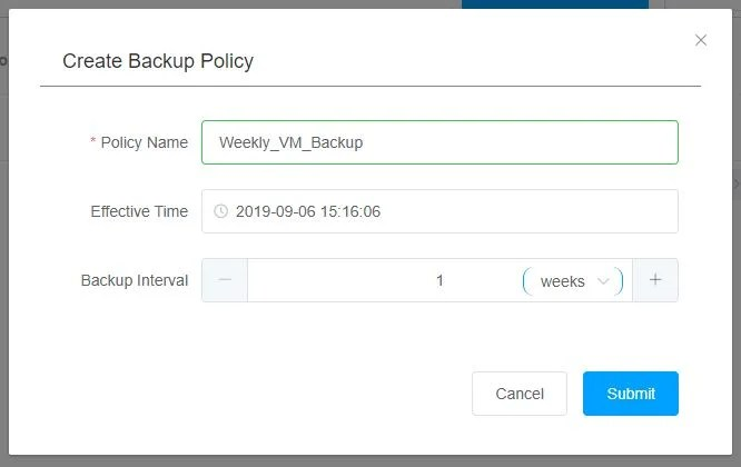 Hybrid Backup Gateway Create Backup Policy