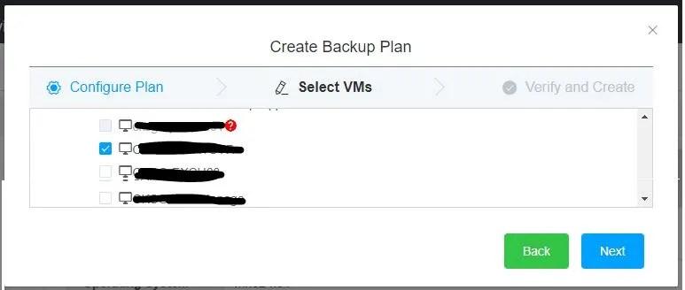 Hybrid Backup Recovery Gateway Create Backup Plan select VM