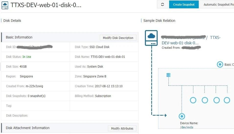 Manage Alicloud ECS Instance Disk Details