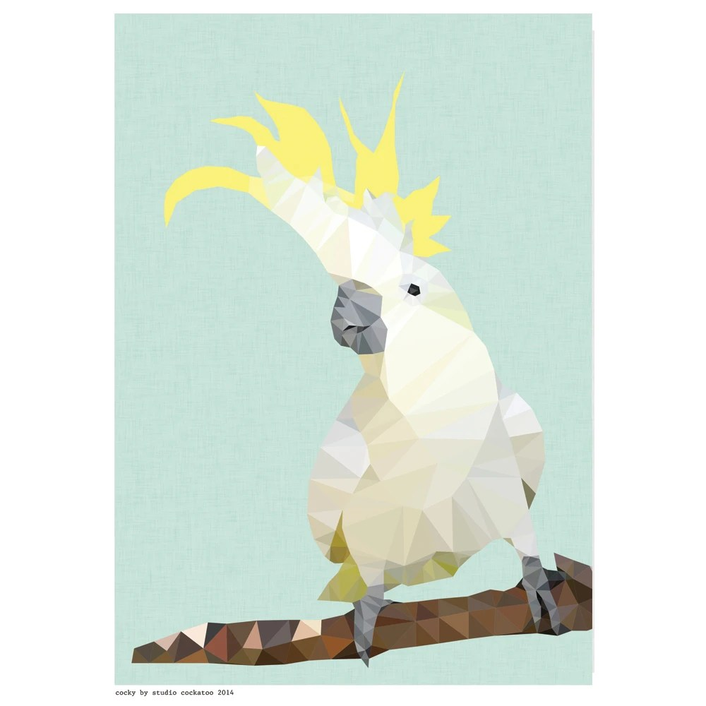 Geometric Cockatoo Art Print Hardtofind