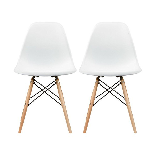 eames style plastic chair modern slipper canopy co 2xhome set of two 2 white side natural wood