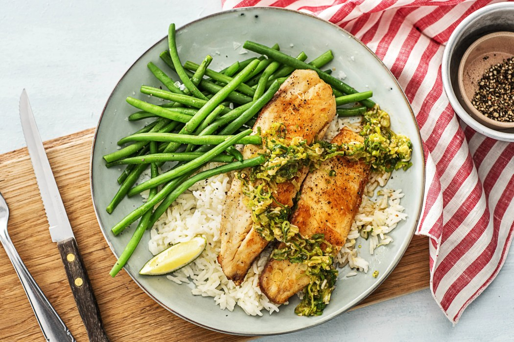 Tilapia-Scallion-Sriracha-Pesto-calorie smart-HelloFresh