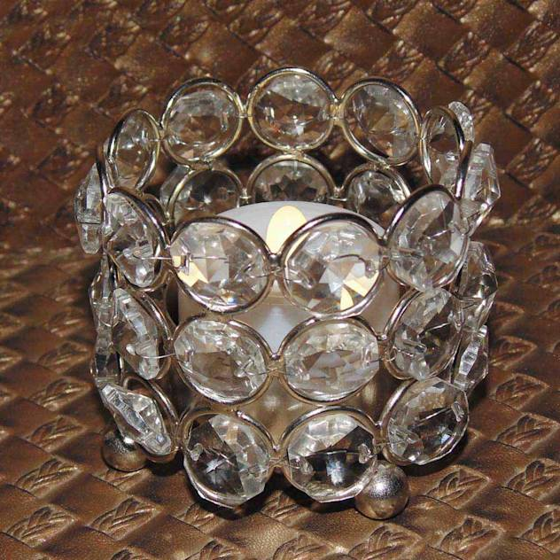Diwali home decoration ideas :Round Crystal Tealight Holde
