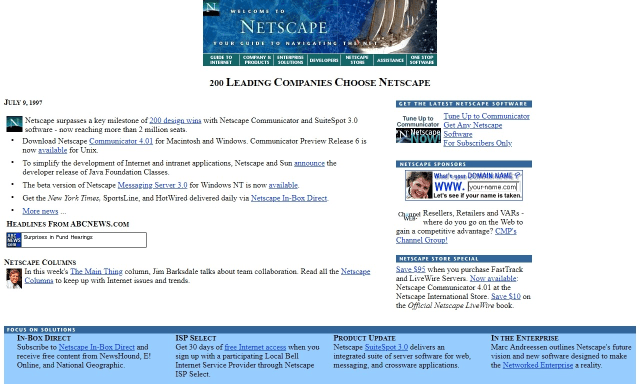 The homepage of Netscape, back in the day, brings back feelings of nostalgia.
