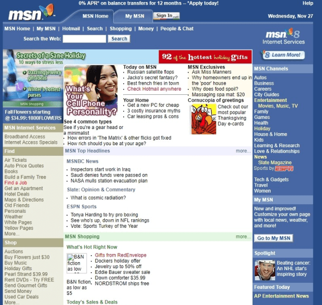 A snapshot of the MSN homepage, November 2002.