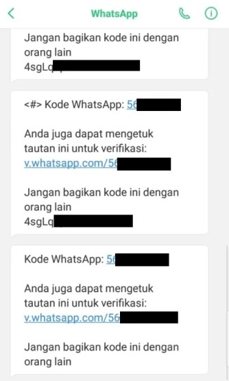 contoh kode verifikasi yang tidak Anda minta di whatsapp
