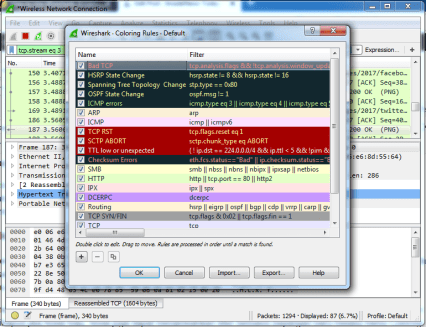 wireshark color rules