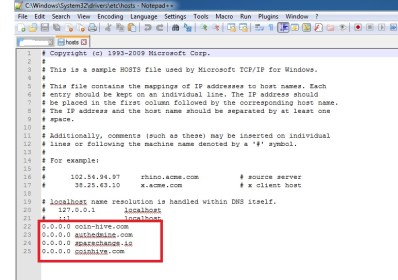 Blokir Domain Script Mining di Host File