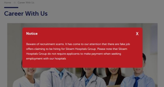 Notice avoid scam Siloam Hospital