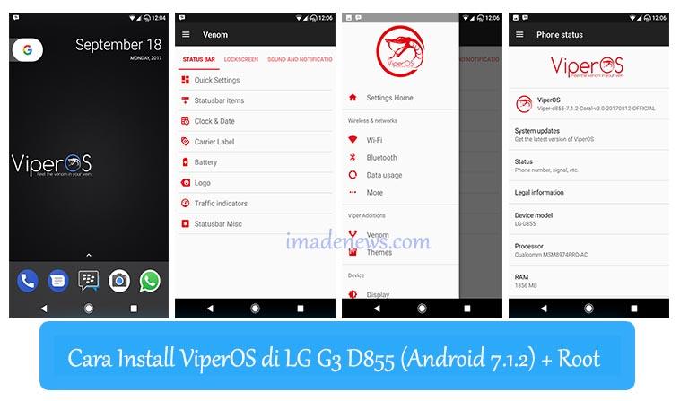 Cara Install ViperOS di LG G3 D855 (Android 7.1.2) + Root