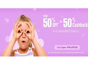 Flat 50% OFF* + 50% Cashback on Handpicked Products