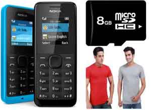 Combo of Two Solid T Shirts and Nokia 105 Mobile Phone and 8GB Memory Card