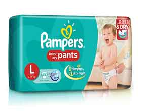 Pampers Pant Diapers Light And Dry Large 52 Pieces