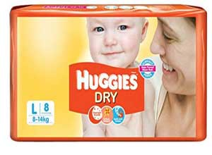 Huggies Dry Diapers Large Size 8 Count