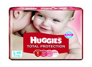 Huggies Total Protection Large Size Diapers 48 Count At Rs.699