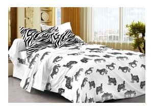 Cenizas Cotton Double Bedsheet With 2 Pilow Covers