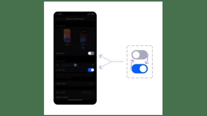Il y a un iPhone à gauche et un groupe de deux variantes à droite, les variantes sont reliées par deux flèches pour montrer qu'un seul composant est nécessaire pour reproduire le même et en vigueur comme avant.