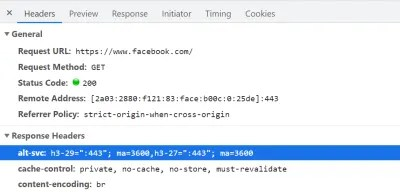 Facebook indicates Alt-Svc for its home page