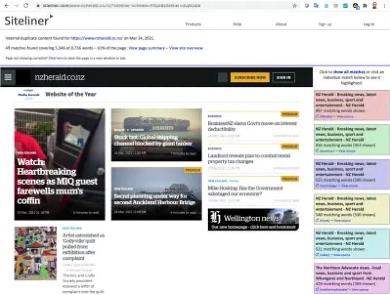 Une capture d'écran d'un service en ligne qui charge une page Web dans son intégralité et met en évidence toute partie de la page contenant du texte trouvé dans des bases de données de contenu précédemment publié.