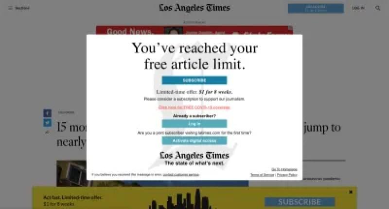 Un exemple de message indiquant qu'un site Web avec un paywall (où un visiteur doit être abonné et payer pour voir la plupart du contenu) peut s'afficher pour un visiteur qui a atteint sa limite de contenu gratuit. Certains services de republication de contenu annoncent la possibilité de contourner ces limitations.