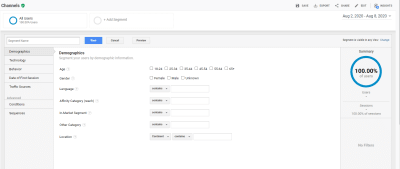 Segments Google Analytics - Options de segment