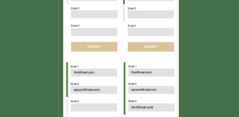 Les conteneurs d'entrée d'e-mail individuels changent de style en fonction de la validité de l'état d'entrée de l'e-mail. Lorsque toutes les entrées sont validées avec succès, le bouton d'envoi (situé juste après le conteneur d'entrée final dans le DOM) est activé.