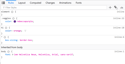 The DevTools in Firefox showing rules for the h1 selector crossed out