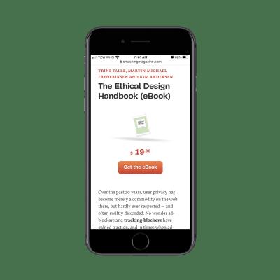 La page de destination du manuel de conception éthique avec «Obtenez le livre électronique» pour 19,00 $ CTA