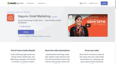 La page de l'application Shopify pour Seguno: Email Marketing comprend un œil -catching vidéo pour la promouvoir
