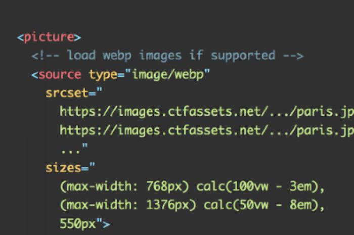 Un extrait pour le chargement d'images WebP réactives