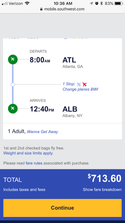 Southwest Airlines pricing