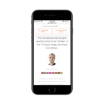 Neil Patel customer data and testimonials