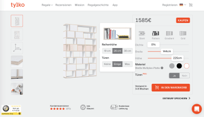 A shelf configurator integrated into a product page, Tylko